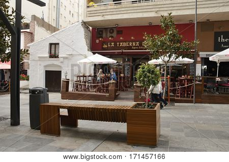 MARBELLA, SPAIN - DECEMBER 7, 2015: Bar in a street of the city of Marbella Andalusia Spain