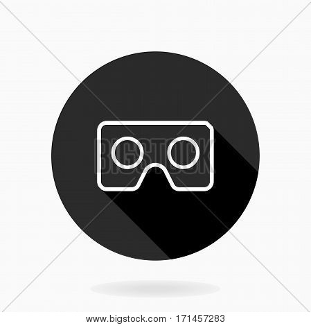 Fine icon with vr logo in circle. Flat design with long shadow. Black and white colors