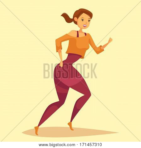 Woman at workout or girl jogging, lady running. Sportswoman doing crossfit cardio exercise at gym or gymnasium. Vitality training or body care, sport club or marathon banner, active healthy lifestyle