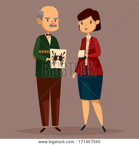 Old psychologist with paper of Rorschach test on it and woman with notepad. Man worker of mental psychology and female consulting therapist or psychiatrist with note.Psychological and consultant theme