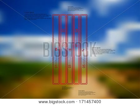 Illustration infographic template with motif of red bar vertically divided to five long standalone sections created by double outlines. Blurred photo with natural landscape motif is used as background.