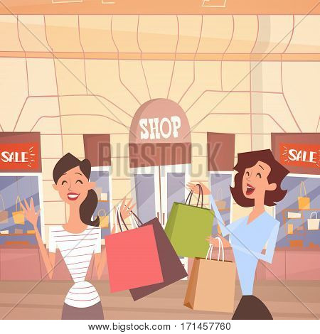 Cartoon Woman Couple With Shopping Bag Big Sale Banner Retial Store Exterior Flat Vector Illustration