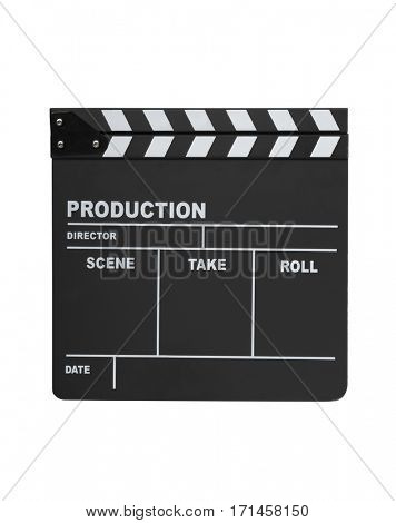 Open clapperboard isolated on white background