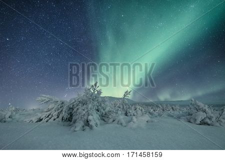 Beautiful Northern lights in a snow covered remote area in Iceland