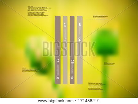 Illustration infographic template with motif of brown bar vertically divided to four long standalone sections. Blurred photo with natural motif of green poppy flowers is used as background.