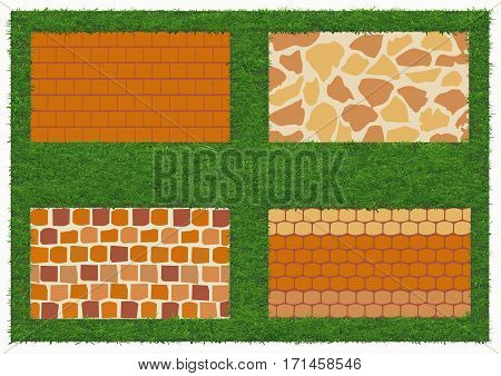 Different types of stone and brick masonry. The pattern of brickwork for background with green grass. Vector illustration. Horizontal location.