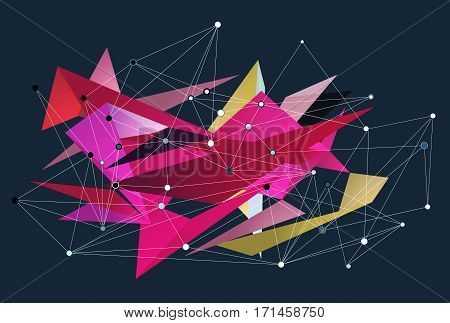 Abstract 3D triangles vector geometric background. Lines connected with dots, low polygon design