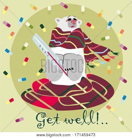 Polar bear in scarf. Get well card. Vector