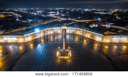 The Alexander Column on the Palace Square in Saint Petersburg Aerial View, Russia