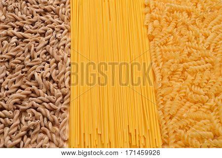Wholemeal Pasta Fusilli From Organic Grain, Spaghetti And Fusilli From White Flour. Whole Wheat Past