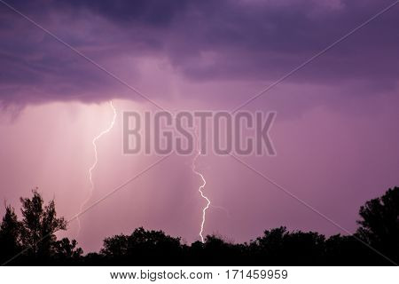 Thunder Lightnings And Storm On The Dark Sky