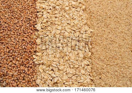 Oatmeal Flakes, Wheat And Wheat Germ. Homemade, Menu, Recipe. Healthy Food. Selective Focus. Copy Sp