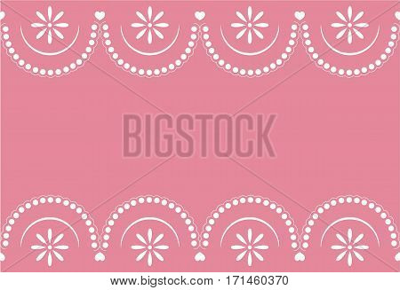 Seamless sample a border with a pattern lace on a pink background. It can be used for the websites, packing, fabrics. Raster copy