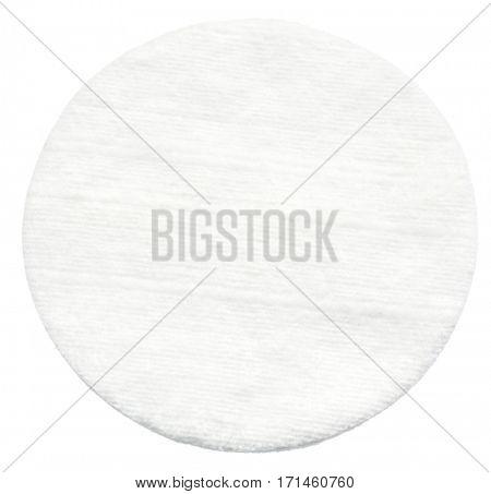 One cotton cosmetic pad. Macro.