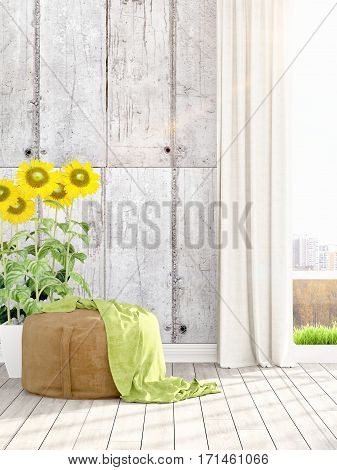 Beautiful modern living room interior with ottoman and sunflowers. 3D rendering