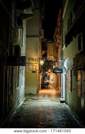 BUDVA, MONTENEGRO - SEPTEMBER 19, 2016:Night street of the old town of Budva, Montenegro.