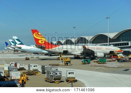HONG KONG - NOV. 8, 2015: HongKong Airlines Airbus 330-200 at Hong Kong International Airport (Chek Lap Kok Airport).