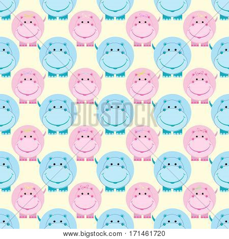 Cute Hippo Pink Blue children seamless pattern vector illustration
