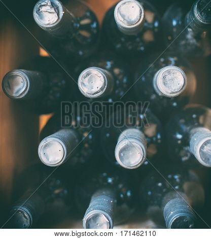 Wine Bottles In The Wine Store. Top View.