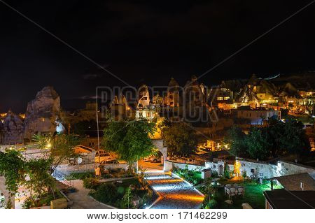Goreme town in the night in Cappadocia Central Anatolia Turkey