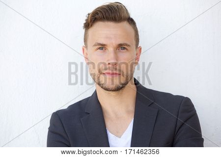 Close Up Handsome Cool Young Man Staring