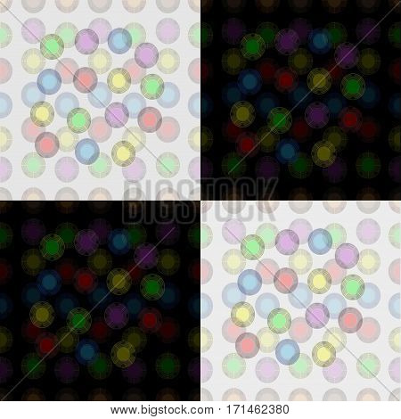 seamless pattern of colorful balloons on a black and white background