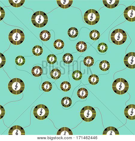 Seamless pattern with symbols of different colors on a green background