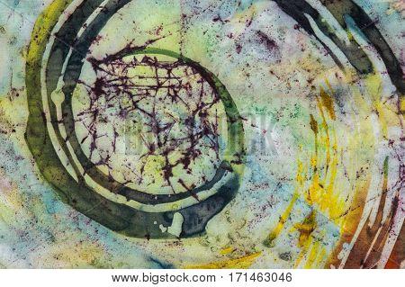 Spiral, Fragment, Hot Batik, Background Texture, Handmade On Silk,  Surrealism Art