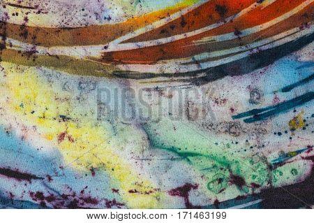 Rainbow, Fragment, Hot Batik, Background Texture, Handmade On Silk,  Abstract Surrealism Art