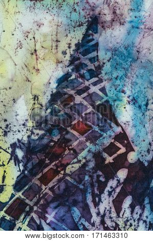 Mountain fragment hot batik background texture handmade on silk abstract surrealism art