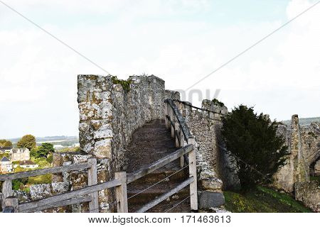 English Castle Wall Rampart, Great Britain, Medieval