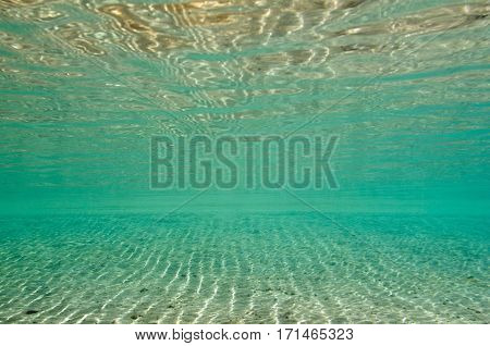 Sand In Shallow Sea Water. Wide Angle, Convenient For Backgrounds