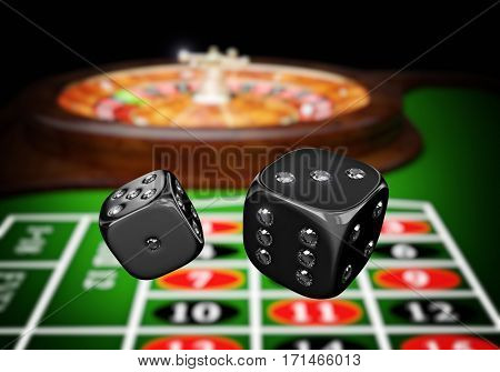 classic casino roulette and diamond dice 3d rendering image
