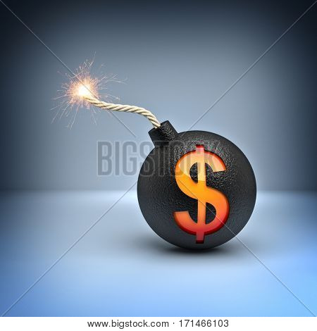 classic bomb with dollar symbol 3d rendering image