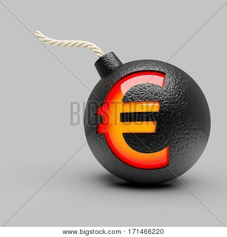 classic bomb with euro symbol 3d rendering image