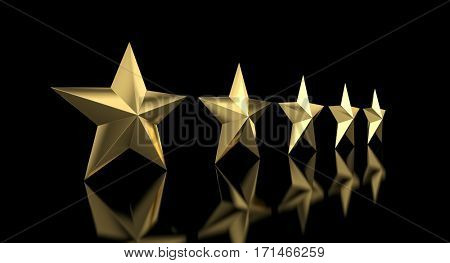 5 golden star quality concept 3d rendering image