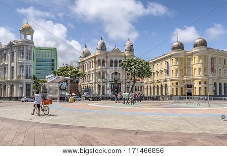 The Historic Buildings Of Recife In Pernambuco, Brazil With Its Construction Dated From From 17Th Ce