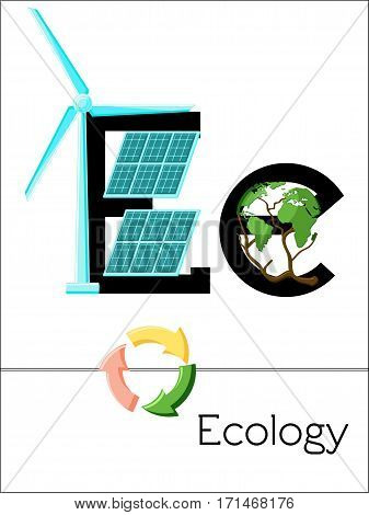 Flash card letter E is for Ecology. Science alphabet for kids. Puzzle ABC flash cards series. Cartoon vector illustration in flat style.