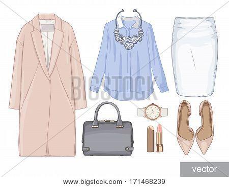 Lady fashion set of autumn season outfit. Illustration stylish and trendy clothing. Coat, skirt, shirt, necklace, watch, blouse, bag, sunglasses, shirt, shoes. Vector.
