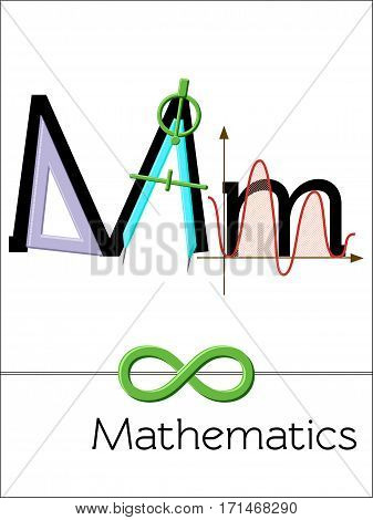 Flash card letter M is for Mathematics. Science alphabet for kids. Puzzle ABC flash cards series. Cartoon vector illustration in flat style.