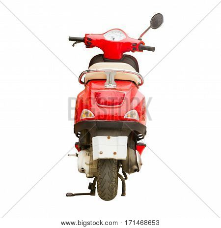 Red scooter isolated on background. Stylish bright hipster two-wheeled moped is the perfect vehicle for the narrow streets of the resort and congested Asian metropolises. Image contains clipping path