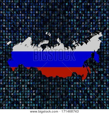 Russia map flag on hex code 3d illustration
