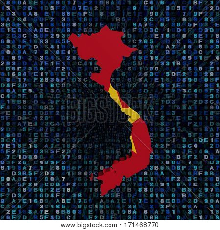 Vietnam map flag on hex code 3d illustration