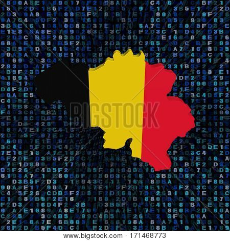 Belgium map flag on hex code 3d illustration