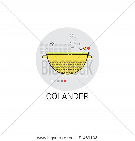 Colander Cooking Utensils Kitchen Equipment Appliances Icon Vector Illustration