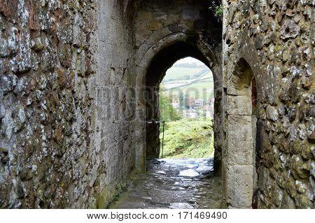 Medieval English Castle walk way to Ramparts