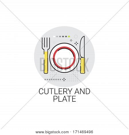 Catlery And Plate Cooking Utensils Kitchen Equipment Appliances Icon Vector Illustration