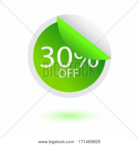 30% off sale sticker vector illustration with shadow