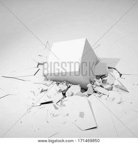 Cube hits surface and destroys it. 3D illustration.