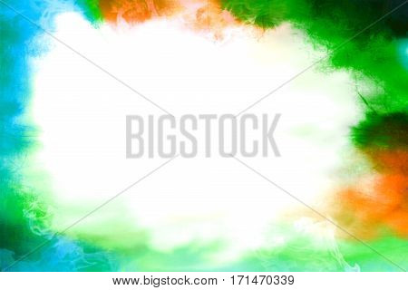 Colorful green and orange and blue empty blank background frame vignette